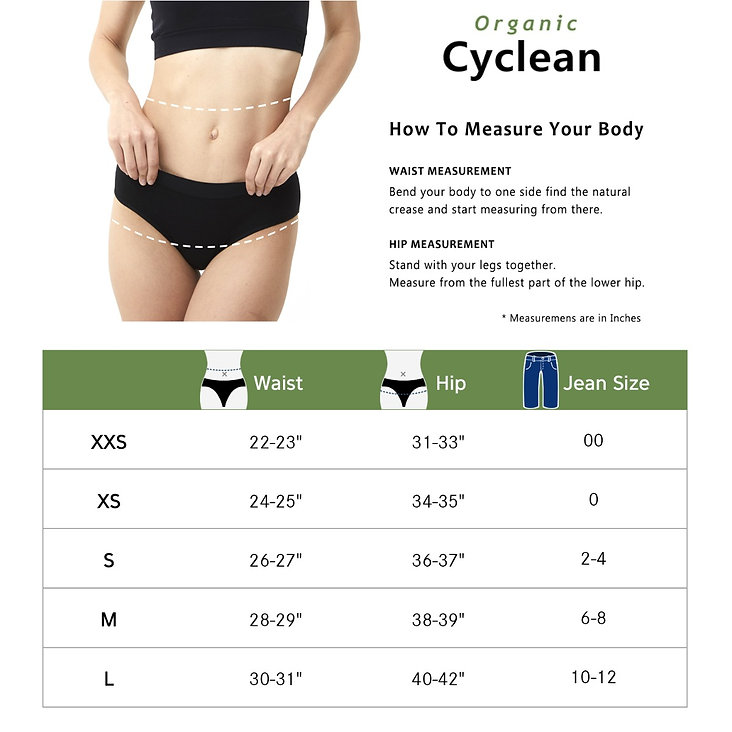 Cyclean Organic Cotton and Bamboo Fabrics Period Underwear, Machine Washable reusable period panties, extended protection layer