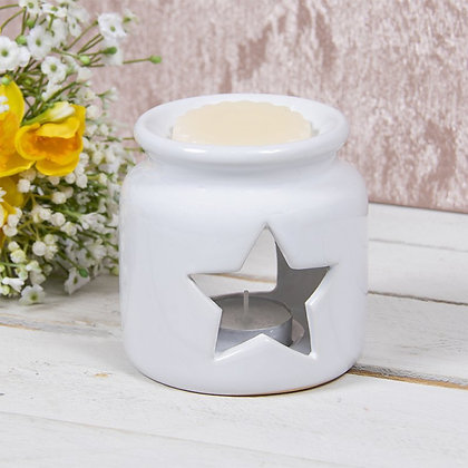 Medium White Star Jar Burner