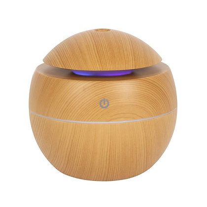Wood Grain Small Round Colour Changing Ultrasonic Diffuser