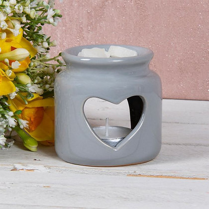 Grey Heart Jar Burner