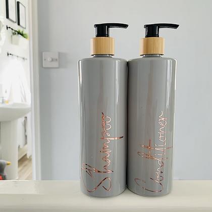 Personalised Grey & Bamboo 500ml Pump Bottle