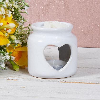White Heart Jar Burner
