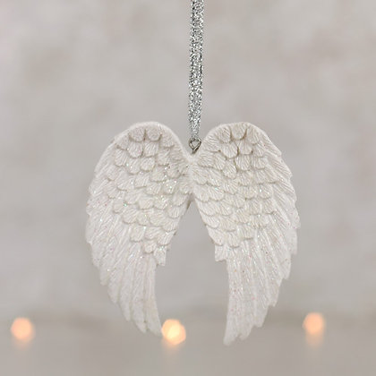 Double Glitter Angel Wing Hanging Decoration