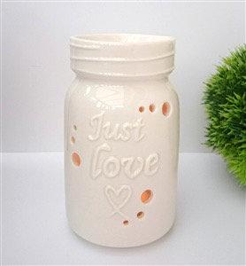White Just Love Mason Jar Tealight Burner