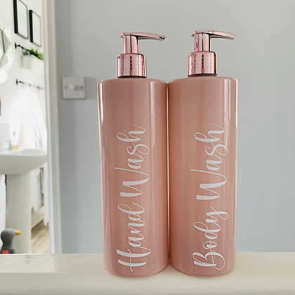 Personalised Pink & Rose Gold 500ml Pump Bottle