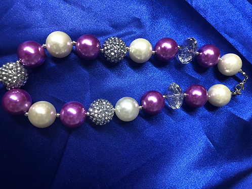 Purple Silver White Big Chunky Girls Necklace