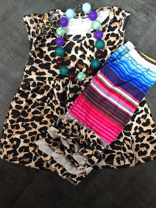 Serape and Leopard Print Girls Two Piece Set