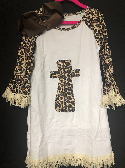 Leopard Cross Girls Dress