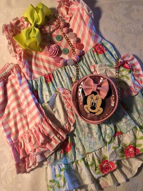Pink Floral Short set