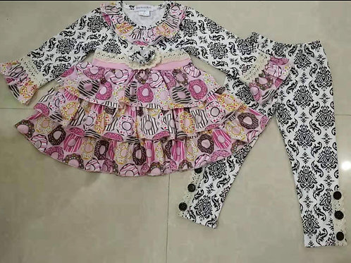 Donuts Delight Girls Two Piece Outfit