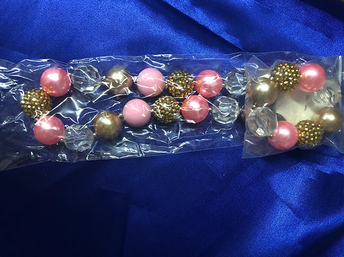 Pink and Gold Big Chunky Girls Necklace w/Bracelet
