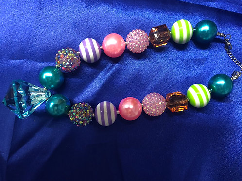 Candy Striped Beautiful Bobble Chunky Girls Necklace