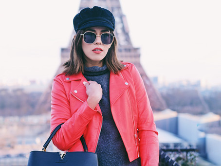 #StreetStyle: PFW Red Biker look