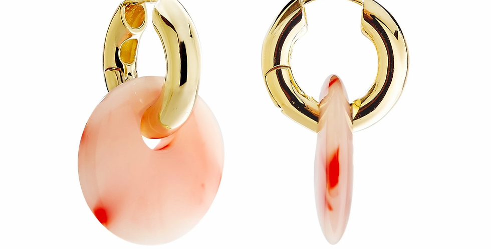 Machete Chunky Hoops in Gold mit Anhänger in Bright pink