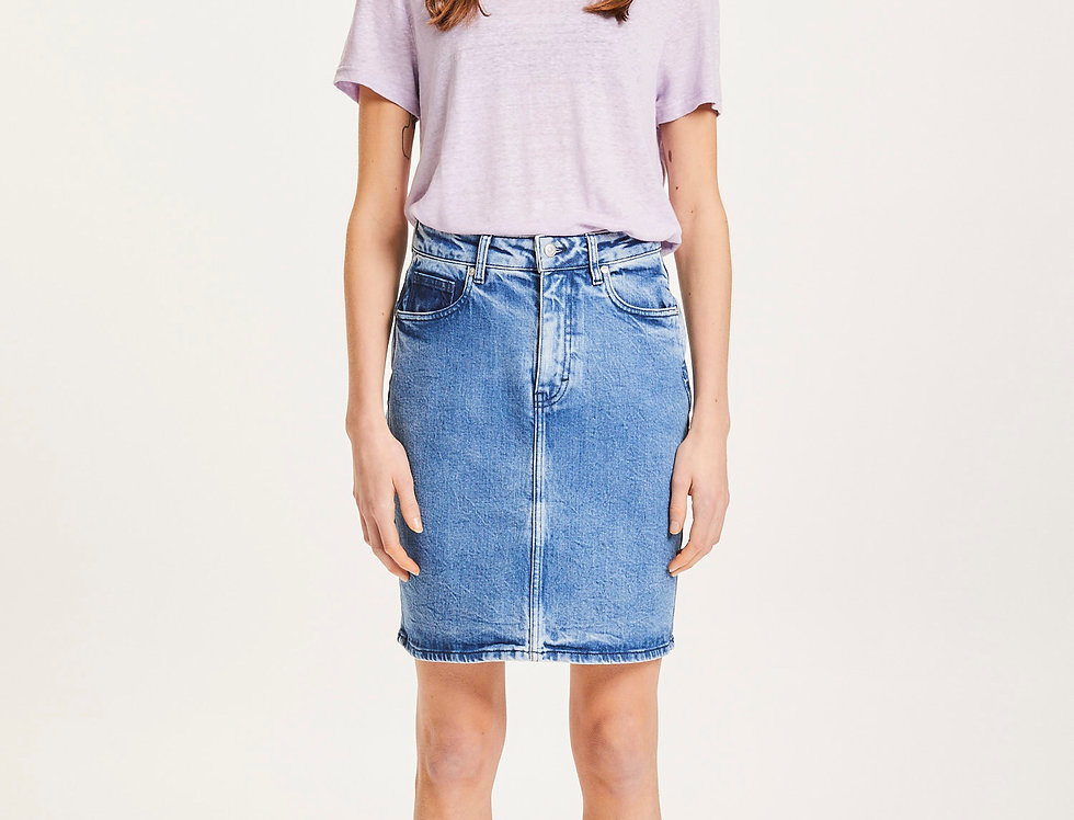 Knowledge Cotton Apparel Romy light blue denim skirt