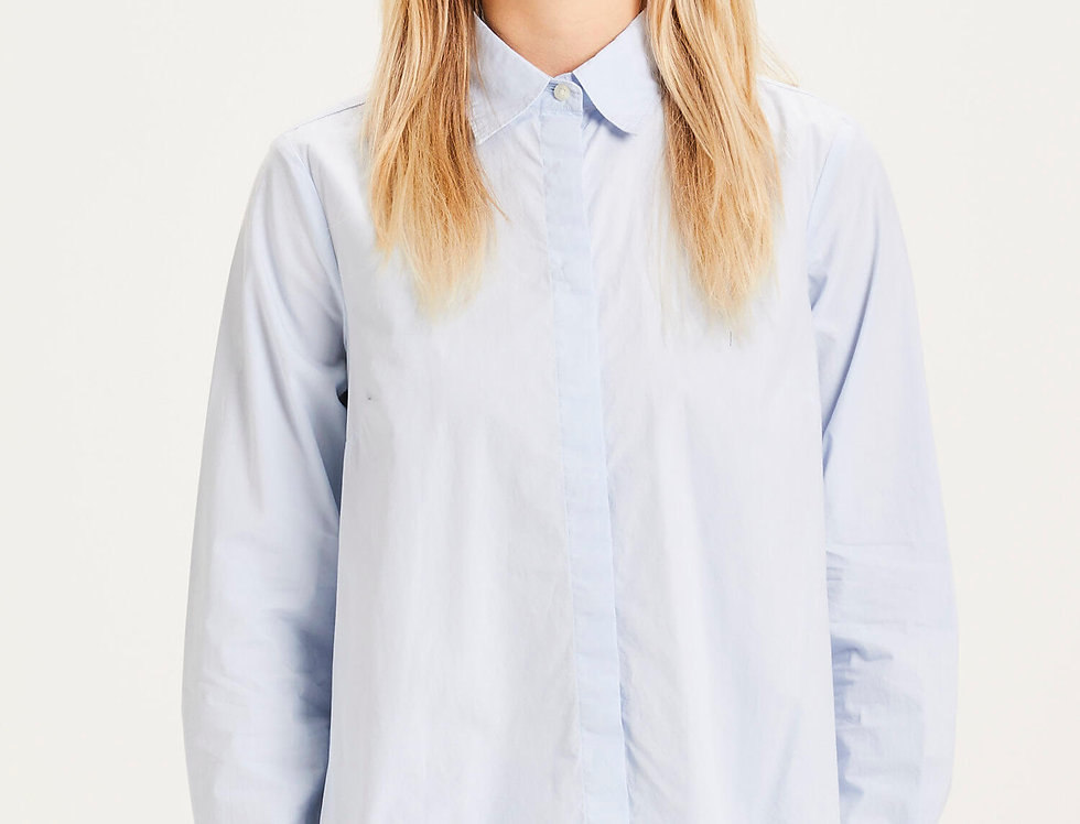 Knowledge Cotton Apparel Jacinta A-shape shirt skyway