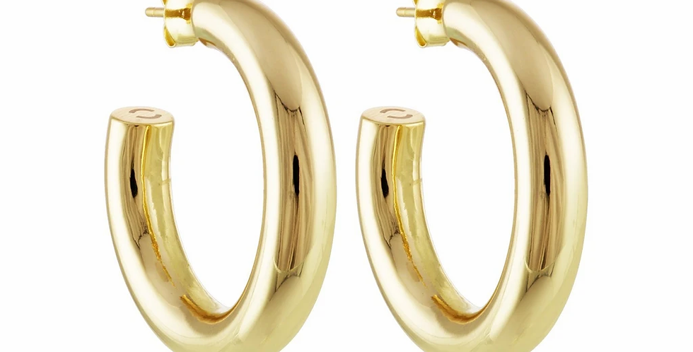 Machete 1'' Perfect Hoops in 14k Gold
