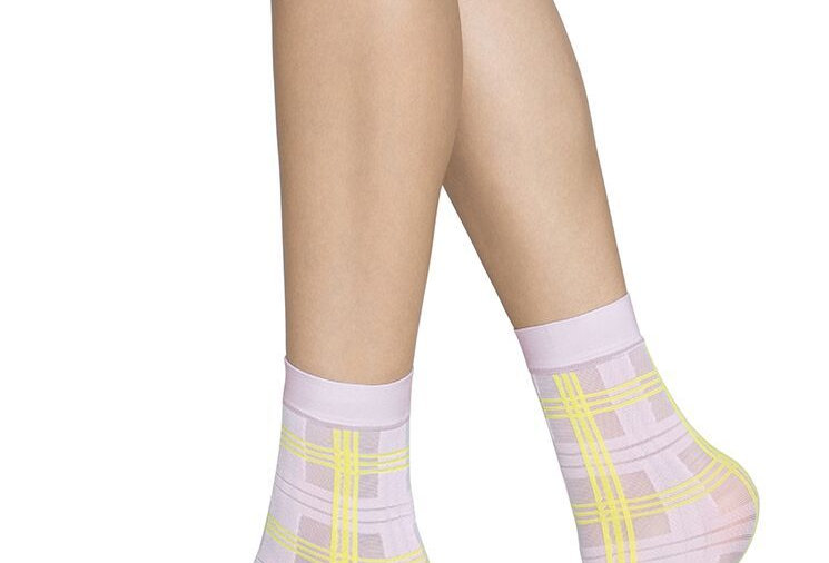 SWEDISH STOCKINGS Greta Tartan Sock Pink/Yellow