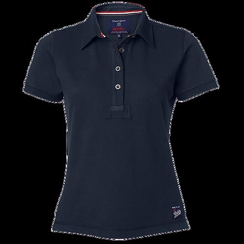 Dame polo t-shirt i marine blå, med fast krave.