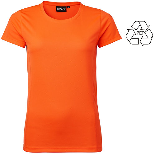 Recycle af pet flasker, dame t shirt orange i 2 stk pakning