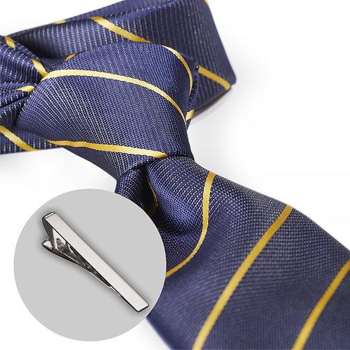Flot stribet blåt slips og klemme i gaveæske