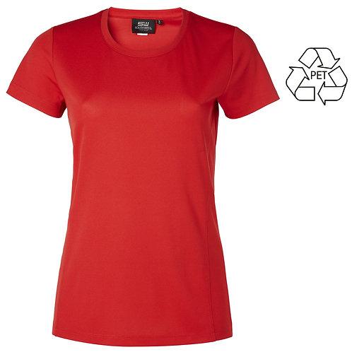 Recycle af pet flasker, dame t shirt rød i 2 stk pakning