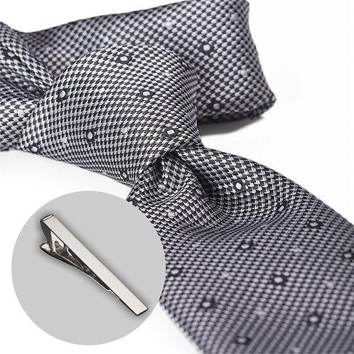 Gråt mønstret slips og klemme i gaveæske