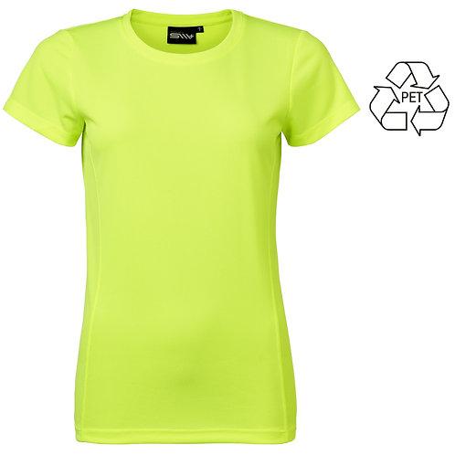Recycle af pet flasker, dame t shirt neon i 2 stk pakning