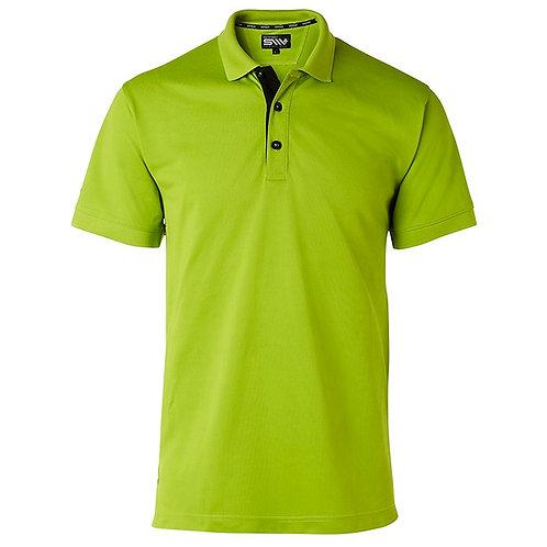 Cooldry herre polo t-shirt i lime grøn med kontrast