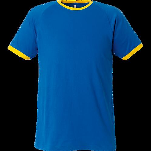 Tshirt i kobolt blå m gule ribkanter.