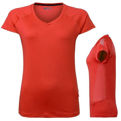 Løbe t shirt dame, orange med reflex