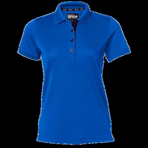Cooldry dame polo t-shirt i kobolt med kontrast