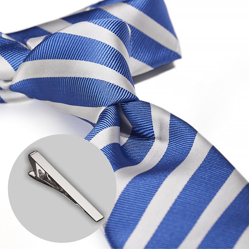 Flot stribet blå og hvid slips og klemme i gaveæske