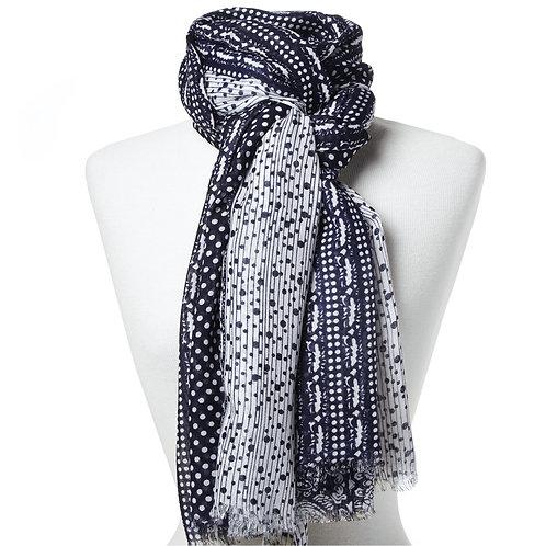 Tørklæde 100x180cm marineblå-hvid