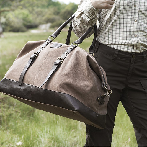Rejsetaske canvas læder - brun