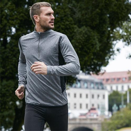 Løbe t shirt mænd, grå med reflex - lange ærmer