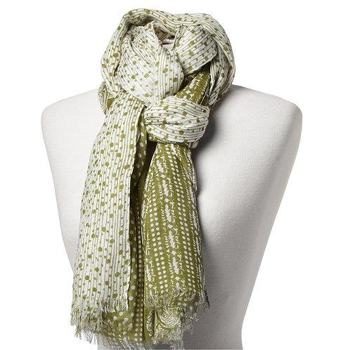 Tørklæde 100x180cm limegrøn-hvid