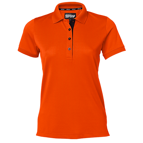 Cooldry dame polo t-shirt i orange med kontrast