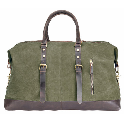 Rejsetaske canvas læder - oliven