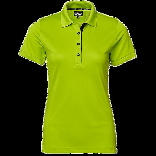 Cooldry dame polo t-shirt i lime grøn og kontrast