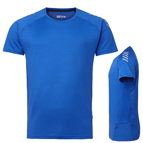 Løbe t shirt mænd, cobolt med reflex
