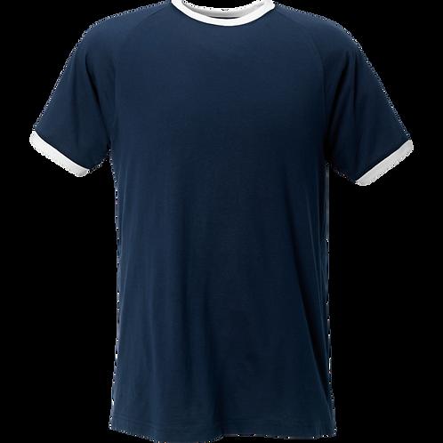 Tshirt i marine m hvide ribkanter.