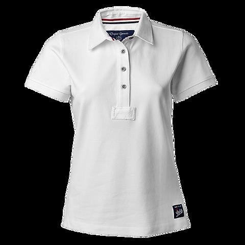 Dame polo t shirt i hvid, med fast krave.   teeshop