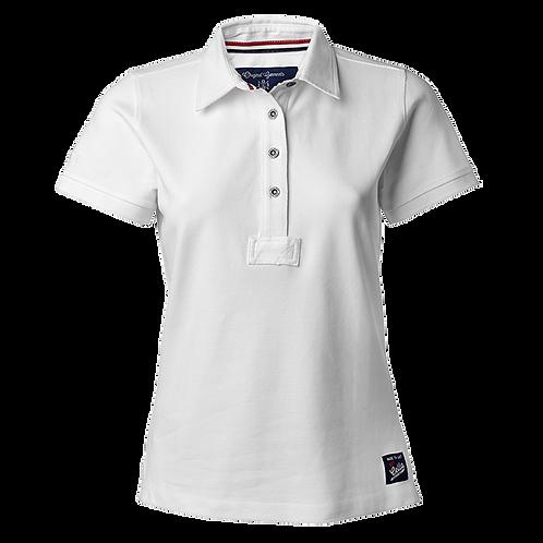 Dame polo t-shirt i hvid, med fast krave.