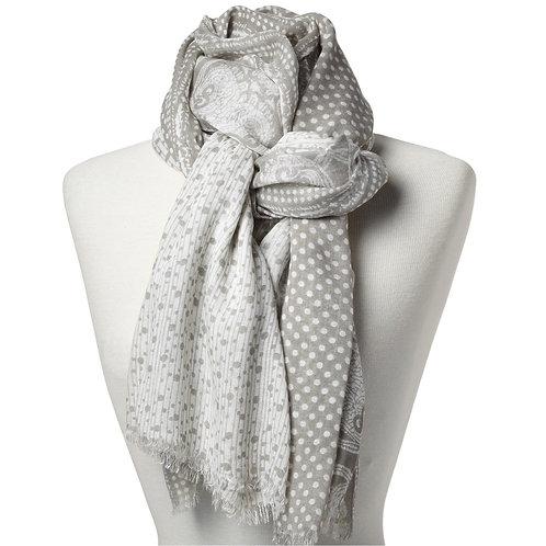 Tørklæde 100x180cm grå-hvid