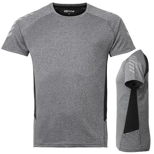 Løbe t shirt mænd, grå med reflex