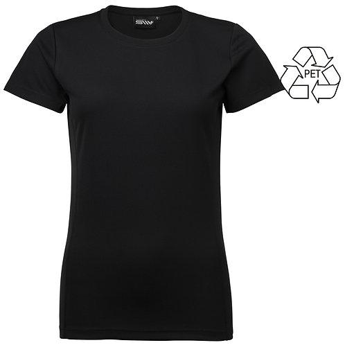 Recycle af pet flasker, dame t shirt sort i 2 stk pakning
