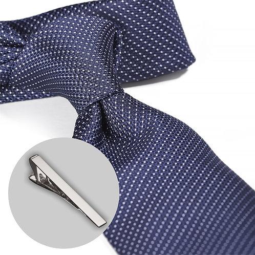 Prikket blåt slips og klemme i gaveæske