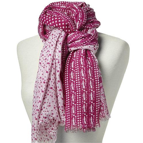 Tørklæde 100x180cm pink-hvid