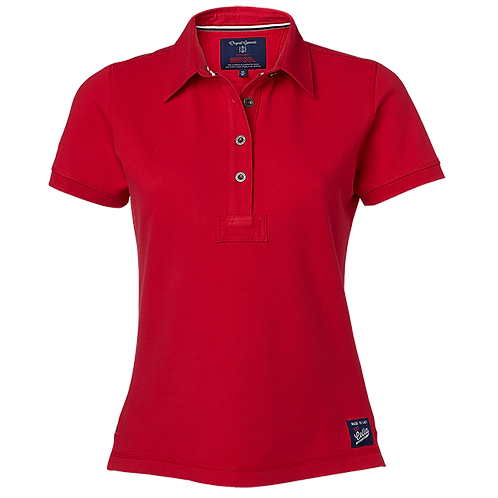 Dame polo t-shirt i rød, med fast krave.